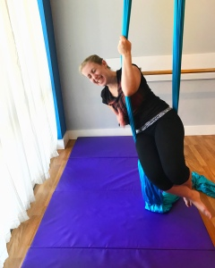 Aerial yoga, falling